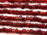Matte Transparent Red Triangle Glass Beads 6-7mm (JV1199)