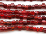 Transparent Red Triangle Glass Beads 5-6mm (JV1200)
