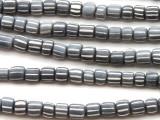 Gray w/White Stripes Glass Beads 5-6mm (JV1204)