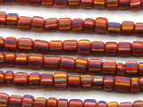 Red w/Multi-Color Stripes Glass Beads 5-6mm (JV1205)