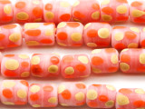 Pink w/Dots Cylinder Glass Beads 11-12mm (JV1209)