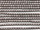Dark Bronze Electroplated Hematite Square Gemstone Beads 4mm (GS4561)