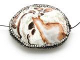 Mushroom Rhyolite Lg Focal Bead w/Rhinestones 46mm (GSP2110)