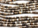 African Silver Leaf Jasper Rondelle Gemstone Beads 5mm (GS4569)