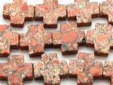 Red Mosaic Magnesite Cross Gemstone Beads 25mm (GS4577)