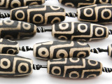 Black & White Tibetan Agate Barrel Gemstone Beads 41mm (GS4596)