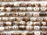 Tibetan Agate Faceted Barrel Gemstone Beads 11mm (GS4609)