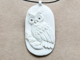 Perched Owl Water Buffalo Horn Pendant 58mm (AP2022)