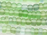 Green & Blue Rondelle Recycled Glass Beads 10-14mm - Indonesia (RG628)