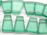 Teal Tabular Recycled Glass Beads 18-21mm - Indonesia (RG631)