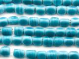Aqua Blue Triangle Glass Beads 9mm (JV1221)