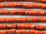 Dark Orange, Black & Green Cylinder Tube Glass Beads 13-14mm (JV1231)