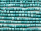 Aqua Teal Irregular Cylinder Glass Beads 5-7mm (JV1242)