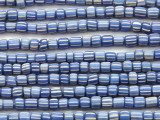 Blue w/White Stripes Irregular Cylinder Glass Beads 4-7mm (JV1244)