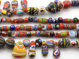 Assorted Painted Glass Beads 5-20mm (JV1260)