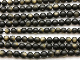 Gold Sheen Obsidian Round Gemstone Beads 5-6mm (GS4620)