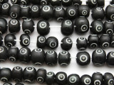 Black Circles Rondelle Bone Beads 8-10mm (B1361)