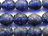 Cobalt Blue Speckled Recycled Glass Beads 14-16mm - Indonesia (RG675)