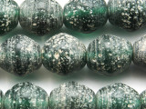 Green Speckled Recycled Glass Beads 14-16mm - Indonesia (RG676)