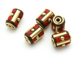 Coral & Brass Tibetan Bead 12mm (TB581)