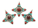 Turquoise, Coral & Silver Tibetan Pendant 64mm (TB592)