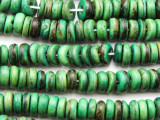 Light Green Coconut Wood Rondelle Beads 8mm - Indonesia (WD976)