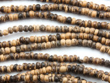 Natural Coconut Wood Rondelle Beads 4mm - Indonesia (WD978)