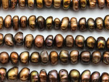 Brown Irregular Rondelle Pearl Beads 8-10mm (PRL213)