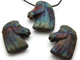 Horse Head Raku Ceramic Pendant 23mm - Peru (CER175)