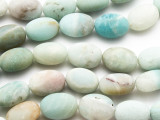 Matte Black Gold Amazonite Oval Gemstone Beads 17mm (GS4735)