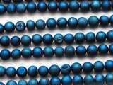 Blue Electroplated Agate w/Druzy Round Gemstone Beads 6-7mm (GS4760)
