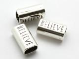 Pewter Bead - 'Believe' Tube 23mm (PB865)