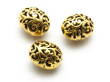 Brass Pewter Bead - Ornate Oval 16mm (PB874)