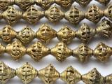 Ornate Bicone Brass Beads 18mm - Ghana (ME5712)