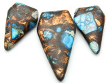 Bronzite & Blue Mosaic Jasper Gemstone Pendant - Set of 3 (GSP2384)