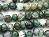 Moss Agate Nugget Gemstone Beads 9-12mm (GS4773)