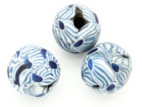 Blue & White Flowers Round Glass Bead 20-22mm (CB548)