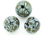 Blue & Green Flowers Round Glass Bead 20-24mm (CB551)