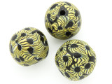 Black & Yellow Flowers Round Glass Bead 25-28mm (CB564)