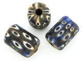 Dark Blue & White Spots Barrel Glass Bead 22-24mm (CB569)