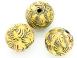Yellow w/Brown Stripes Round Glass Bead 26-29mm (CB575)