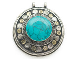 Afghan Tribal Silver Pendant - Turquoise 66mm (AF882)