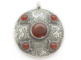 Afghan Tribal Silver Pendant - Carnelian 48mm (AF883)