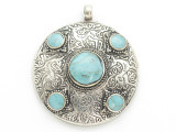 Afghan Tribal Silver Pendant - Turquoise 48mm (AF888)