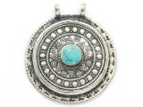Afghan Tribal Silver Pendant - Turquoise 43mm (AF898)