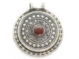 Afghan Tribal Silver Pendant - Carnelian 43mm (AF906)