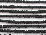 Black Irregular Cylinder Glass Beads 5-7mm (JV1265)