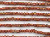 Red w/Multi-Color Stripes Cylinder Glass Beads 5-7mm (JV1268)