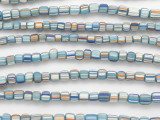 Blue w/Orange & White Stripes Glass Beads 5-6mm (JV1269)