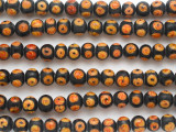 Black w/Orange Spiral Round Glass Beads 9mm (JV1270)